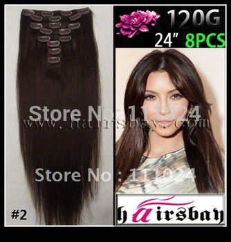 """Virgin Hair Unprocessed  Long Human Hair Extension,Factory Sale Product Great Length Dark Brown 24"""" 120g#2 Clip In Free Shipping"""