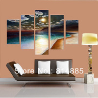 Free Shipping !!! 100% Handmade Sunset Beach Canvas Painting ,Large  Wall Art  ,Top Home Decoration JYJLV240