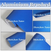 Deep Blue Aluminium Car Wrapping Vinyl Brushed Metallic Vinyl Wrap Air Bubble