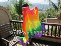 Free Shipping Belly Dance Silk Veil Deluxe Belly Dance Silk Veil ,4pcs /lot , Rainbow belly dance veil