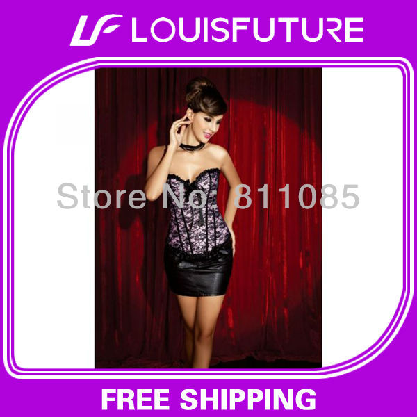 Grey Spandex / Polyster Sexy Lingerie Corset Pajamas For The Women CS0124(China (Mainland))