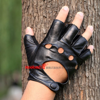 2014  black genuine leather Fingerless Glove Sheepskin semi-finger cutout Gloves 1 Pair/lots