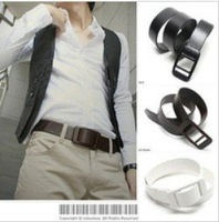 new 2014 Fashion All Match Plastic Buckle Leather Belt 100% Metal Allergy Free Mens Waist Belts KC XH-518 Free Shipping Over$15