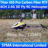Titan 450 Pro Carbon Fiber RTF 6CH 2.4G Remote Control 3D Fly VS Align T-rex Trex Single Screw Propeller Electric RC Helicopter