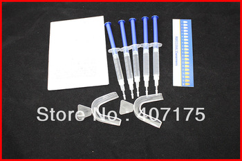 1packs  Teeth Whitening pen CP 44% , 5 pcs 3ml 44% Desensitizing Gel  2 Warm and Form Mouth Trays