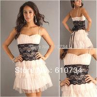 SP0027 Affordable Light Pink Black Lace Prom Dresses 2012
