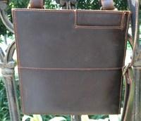 Free shipping handmade genuine leather small men's shoulder bag vintage fashion messenger bag coffee color