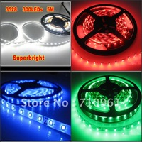 Free Shipping 10M/lot 3528 300 leds flexible led strip Non-waterproof cool white warm white red green blue yellow