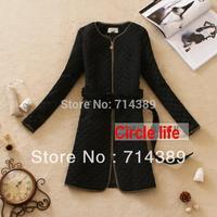 free shipping women outerwear vintage slim waist medium-long cotton-padded jacket 2 belt size from M to 5XL big code