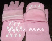 Best selling! Pink Gel Socks Gloves Women Moisturize Soften Skin Moisturizing Treatment 1Pair/Set Free shipping