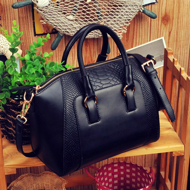 HOT SALING! 2013 New women handbag fashion brief crocodile pattern shoulder messenger bag leather bag free shipping(China (Mainland))
