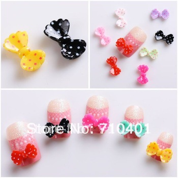Xmas Item Free Shipping Wholesale/ Nails Supply, 100pcs 3D Newest Colorful Bowtie DIY Acrylic Nails Design/Nail Art, Unique Gift
