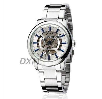 2012 newest skeleton mechanical watch steel strip,3 styles,free shipping
