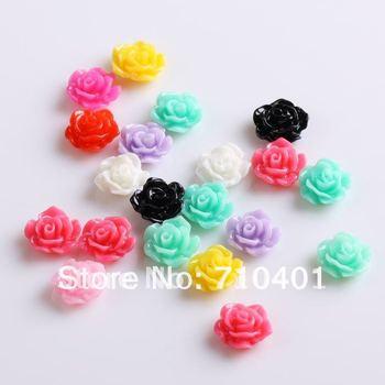 Xmas Free Shipping Wholesale/ Nail Supplier,100pcs 3D Resin Colorful Flower DIY Acrylic UV Gel Polish Tool Nail Design/ Nail Art