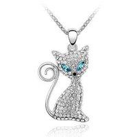 100% Austria Crystal Platinum Plated Blue Eyes Cat Pendant Necklace