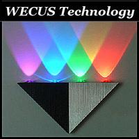 (WECUS) free shipping,bedroom bedside lamp, living room TV LED backlight,KTV bar triangular wall lamp,4 light sources,XJ-BD-0010