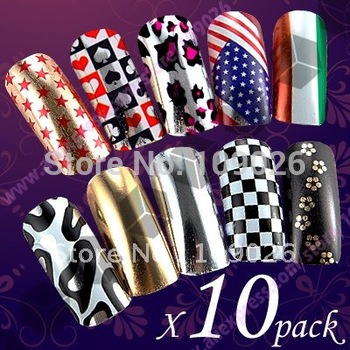 10pcs/lot Brilliance Shiny Self Adhesive Nail Foils Wrap Sticker / transfers Nail Patch Free Shipping