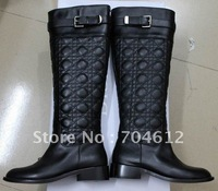2012 brand flat boots for women genuine leather ladies knee boots