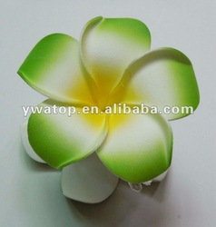 Free Shipping 50pcs 9cm Green Artificial Hawaiian Plumeria Hair Claws(China (Mainland))