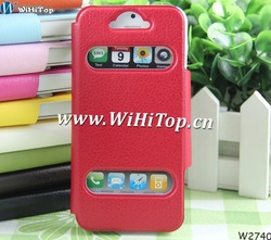 Ultra Thin Leather Flip Case Cover For iPhone 5.Mix 12 Colors and Easy to Watch Time and Check Message(China (Mainland))