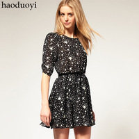 women's dress with star printed for wholesale and free shipping haoduoyi