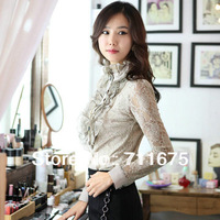 Free shipping 9513 autumn and winter plus size lace shirt long-sleeve stand collar basic shirt OL outfit slim career shirt