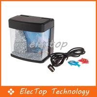 Free shipping USB Powered Mini Aquarium Fish Tank With LED Light 48pcs/lot Wholesale