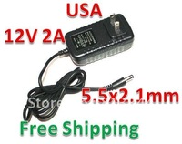 DHL Free Shipping 50pcs/lot AC 100-240V to DC 12V 2A Power Adapter Supply Charger For LED Strips Light