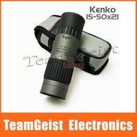 Original Silver Gray Japan KENKO 15-50X21 High Power Zoom Pocket Golf Monocular Telescope Green Film Multi Coated Night Vision