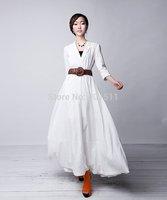 D124  S-4XL Free shipping 2014 new high quality women's new white color  Custom made long linen dress maxi dress
