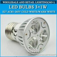 5pcs/lot High power led Bulb Lamp E27 3W Warm White/Cold white AC85-265V Free Shipping