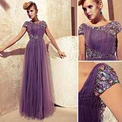 Famous Design New Style 2013 Fashion Long Evening Dress Cap Sleeve Prom Dresses(China (Mainland))