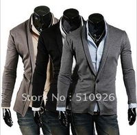 2012  NEW arrival The fashion lapel two buckle Slim men's long-sleeved cardigan men sweater 3color 4 size
