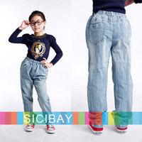 Children Pants New Style Kids Spring Clothes Little Girls Jeans Light Denim Blue Trend Pants,Free Shipping   K0364
