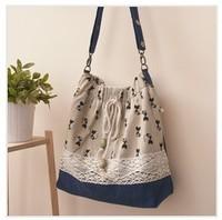 Free shipping 2012 Women's vintage handbag fresh & rustic cat printed lace shoulder cross body linen bag
