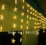 Holiday sale 400*70cm Star christmas Decoration Lights LED party lamp LED curtain light YELLOW COLOR icicle LED twinkle light