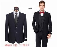 Hot Selling New 2014 Men Brand Business Suit Two Button Fashion Wedding Tuxedo 3 pieces Jacket+Vest+Pants S-3XL