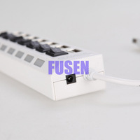 Free Shipping 7 Port 2.0 High Speed USB HUB ON/OFF Sharing Switch For Laptop PC White