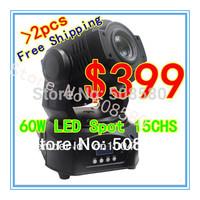 2pcs/Lot, 60W LED Moving Head Spot Light DMX 15CHS,3 facet prism
