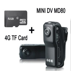 Hot Selling! High resolution smallest camera MD80 Mini DV Camera 720*480 Hidden video camera Mini camcorder + 4G TF Card on sale(China (Mainland))