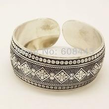 Gypsy Square Flower Metal Tibetan Silver vintage retro Fashion Cuff Bracelet Bangle Free Shipping  for her(China (Mainland))