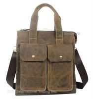 "Free ship Factory price fashion Men Brown Full Grain Real leather Genuine shoulder bag messenger bag tote 14"" laptop Briefcase"