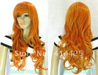 Fashion long Wavy Dark Orange Women's Wig + cap HI24