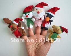 Christmas animal Baby Plush Toys Finger Puppets Talking Props Multi-function educational toys 25pcs(China (Mainland))