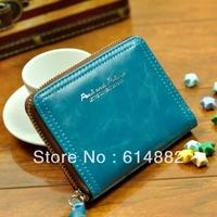 Free shipping fashion wowen wallet short design candy color vintage zipper women's wallet lovers wallet