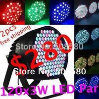 2pcs/lot,120pcs x 3W RGBW Par LED Lights LED par can,LED par64,LED Disco Par Light