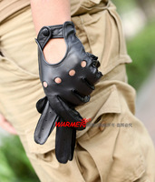 free shipping men's Suede genuine leather cutout punk glove 1pair/lot
