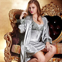 NWT women's spring autumn silk satin spaghetti strap long sleeve 2 piece lace embroidery robe sleep set silver pink bedgown 5577