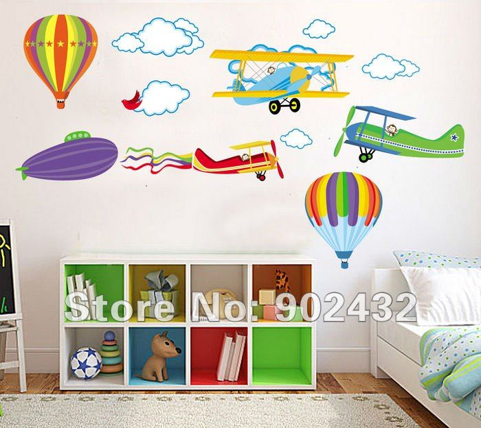 Removable Cartoon Airplane and Hot Air Balloons Wall sticker decals Nursery Kids Room Home Decoration(China (Mainland))