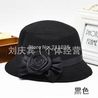 Wholesale Hot Sale Women plus size autumn winter woolen dome small fedoras bow bucket hat basin hat R96 A